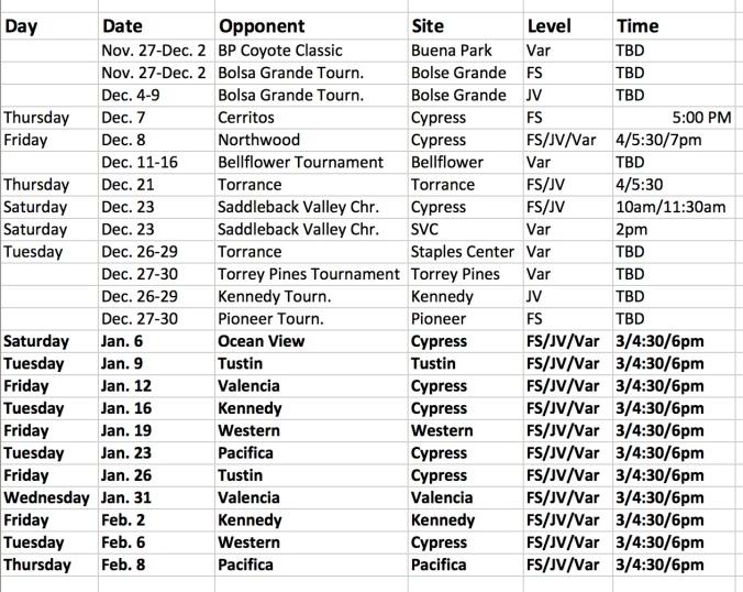 schedule 2017-18